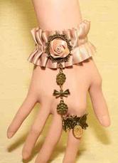 Lolitashow Gothic Lolita Bracelet Lace Flowers Pink Charm Lolita Bracelet Jewery