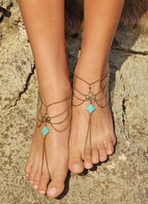 Beach Wedding Footwear Silver Beach Anklets Layered Chain Beach Wedding Shoes
