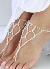 Beach Wedding Footwear White Wedding Anklets Clear Beads Beach Wedding Footwear