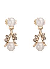 Boucles d'oreilles perle percée zircone cubique bijoux de mariée blanche