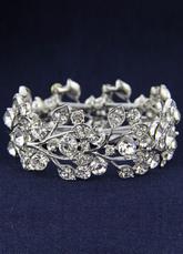 Crystal Rhinestone Floral Leaf Bracelet Bridal Jewelry