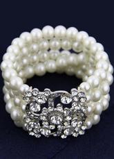 5 Row Pearl Bracelet Rhinestone Stretch Vintage Bridal Jewelry