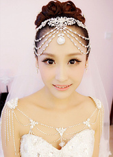 Bridal Shoulder Necklace Chains White Rhinestones Alloy Statement Bridal Necklace