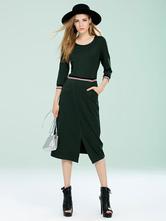 Women's Bodycon Dress Green Jewel Neckline 3/4 Length Sleeve Shaping Slit Knit Dress
