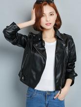 Women's Black Jacket Long Sleeve Slim Fit Short Moto Jacket