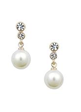 Pearl Wedding Earrings White Rhinestone Dangle Earrings Pierced Wedding Jewelry For Women