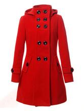 Cappotto Rosso Donna 2020 Cappotto Trench da Donna Giacca Doppiopetto Rossa Cappotto di Lana con Doppio Petto A Maniche Lunghe con Cappuccio