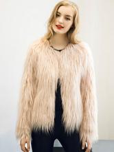 Giacca in pelliccia da donna 2019 Soprabito invernale manica lunga in avorio