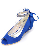 Boho Wedge Wedding Shoes Peep Toe Ankle Strap Bridal Pumps in Blue