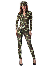 Anime Costumes AF-S2-630425 Halloween Sexy Cop Costume Women's Camouflage Bodycon Jumpsuit