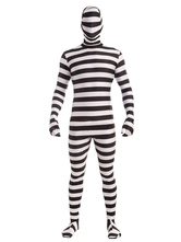 Anime Costumes AF-S2-630429 Halloween Stripe Zentai Criminal Costume Men's Catsuit Full Bodysuit