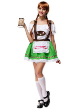 Anime Costumes AF-S2-630433 Halloween Beer Girl Sexy Costume Outfits Women's Color Block Jumper Skirt With Off The Shoulder Blouse