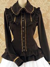 Lolitashow Sweet Lolita Shirt Isabella Slim Peter Pan Collar Long Sleeve Cotton Linen Lolita Shirt