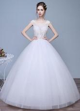 Vestidos de noiva marfim Applique a linha do laço redondo pescoço Keyhole chão comprimento vestidos nupciais