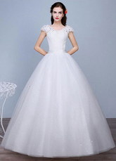 Слоновой кости свадебное платье с блестками кружева V шеи короткие рукава-Line этаж Длина свадебное платье