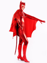 Anime Costumes AF-S2-631297 Red Superhero Costume Halloween Catwoman Shinny Metallic Zentai Costume With Cape