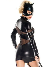 Anime Costumes AF-S2-631301 Halloween Catwoman Catsuit Black Sexy Long Sleeve Front Zipper Lycra Spandex Costume In Set