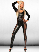 Anime Costumes AF-S2-631309 Halloween Sexy Catsuits Black Latex Lace Cut Out Full Body Catsuit