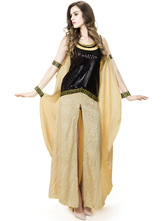 Anime Costumes AF-S2-631317 Halloween Egyptian Costume Cleopatra Two Tone Glitter Top Split Front Maxi Dress