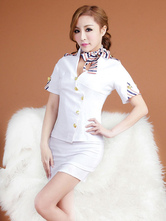 Anime Costumes AF-S2-631333 Halloween Sexy Airhostess Costume White V Neck Shirt Costume Outfit In 3 Piece