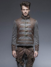 Anime Costumes AF-S2-632915 Gothic Steampunk Costume Halloween Men's Retro Costumes Gray Long Sleeve Jacket