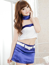 Anime Costumes AF-S2-631329 Halloween Sexy Airhostess Costume Two Tone Strapless Crop Top With Belted Skirt & Scarf