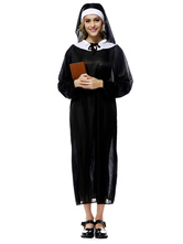 Anime Costumes AF-S2-631327 Halloween Nun Costume Outfits Black Dress Headpiece Sets