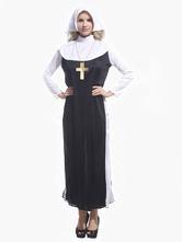 Anime Costumes AF-S2-631325 Deluxe Nun Costume Halloween Women's Nun Dress Headband Sets