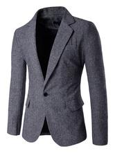 Tweed Suit Jacket Single Button Casual Blazer For Men Winter Casual Blazer
