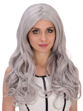 Anime Costumes AF-S2-633309 Halloween Gray Wigs Women's Long Curly Center Parting Synthetic Wigs