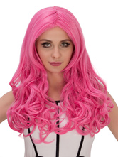 Anime Costumes AF-S2-633311 Halloween Long Wigs Full Volume Curls Women's Pink Center Parting Synthetic Wigs