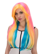 Anime Costumes AF-S2-633035 Halloween Hair Wigs Long Straight Multi Color Synthetic Wigs With Side Bangs