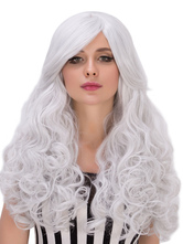 Anime Costumes AF-S2-633303 Halloween Hair Wigs White Long Tousled Side Bang Synthetic Curly Wigs