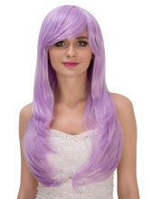 Anime Costumes AF-S2-633289 Halloween Long Wigs Lilac Curls At Ends Side Swept Synthetic Wigs For Women