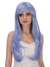 Anime Costumes AF-S2-633291 Women's Long Wigs Halloween Blue Curls At Ends Side Parting Synthetic Wigs