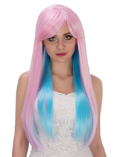 Anime Costumes AF-S2-633267 Halloween Long Wigs Women's Straight Two Tone Side Parting Synthetic Wigs
