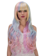 Anime Costumes AF-S2-633285 Halloween Rainbow Wigs Full-Volume Curls Blunt Fringe Layered Pastel Hair Wigs For Women