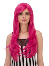 Anime Costumes AF-S2-633317 Halloween Long Wigs Curls At Ends Women's Side Swept Rose Red Synthetic Wigs