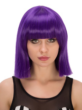Anime Costumes AF-S2-633077 Halloween Hair Wigs Women's Purple Bangs Shoulder Length Straight Synthetic Wigs