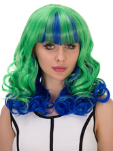 Anime Costumes AF-S2-633051 Halloween Hair Wigs Green Blue Layered Curly Long Synthetic Wigs With Bangs