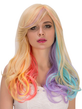 Anime Costumes AF-S2-633295 Halloween Rainbow Wig Women's Long Curly Side Swept Hair Wigs