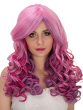 Anime Costumes AF-S2-633301 Halloween Women's Wigs Long Curly Center Parting Pink Hair Wig