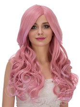 Anime Costumes AF-S2-633299 Halloween Long Wigs Women's Pink Curly Center Parting Layered Hair Wigs