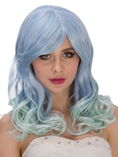Anime Costumes AF-S2-633297 Halloween Long Wigs Women's Blue Full Volume Curls Side Parting Hair Wigs