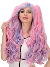 Anime Costumes AF-S2-633023 Halloween Hair Wigs Long Bunched Layered Wavy Synthetic Wigs With Side Bangs