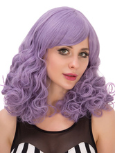 Anime Costumes AF-S2-633307 Halloween Long Wigs Women's Curly Lilac Hair Wigs With Side-swept Bangs