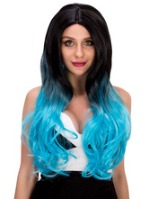 Anime Costumes AF-S2-633199 Long Halloween Wigs Curly Blue Black Ombre Hair Women's Centre Parting Synthetic Hair Wigs
