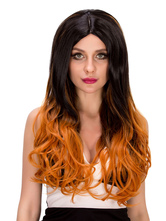 Anime Costumes AF-S2-633201 Curly Long Wigs Halloween Ombre Hair Women's Centre Parting Synthetic Hair Wigs In Black And Yellow