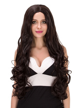 Anime Costumes AF-S2-633143 Halloween Curly Wigs Long Hair Women's Centre Parting Synthetic Hair Wigs In Brownish Black