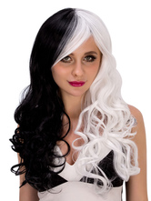 Anime Costumes AF-S2-633183 Halloween Curly Wigs Long Layered Women's Synthetic Hair Wigs In Black And White